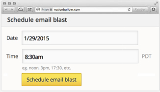 Schedule email blasts