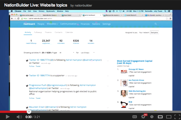 Dashboard View from NationBuilder Live