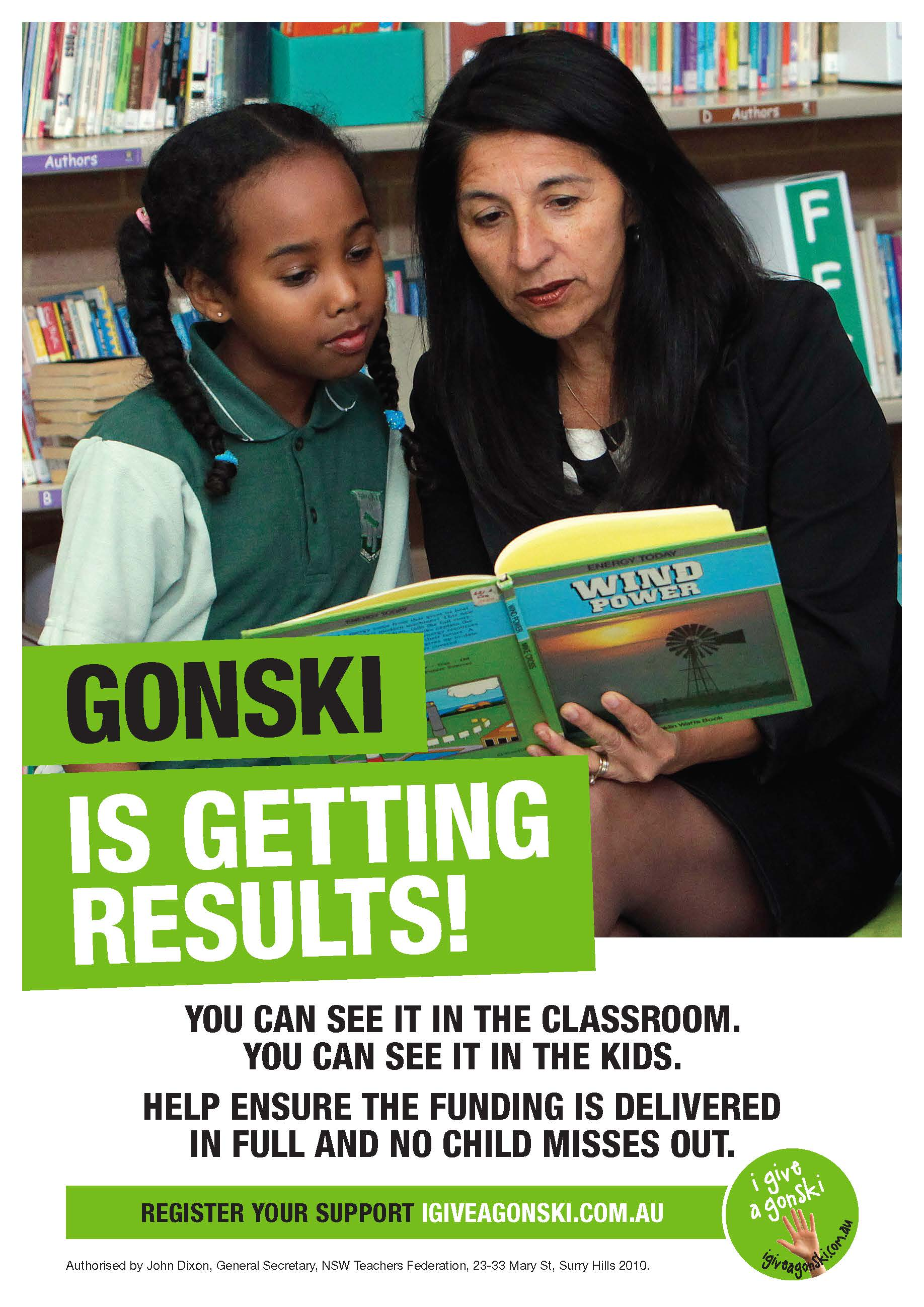 Gonski is getting results poster