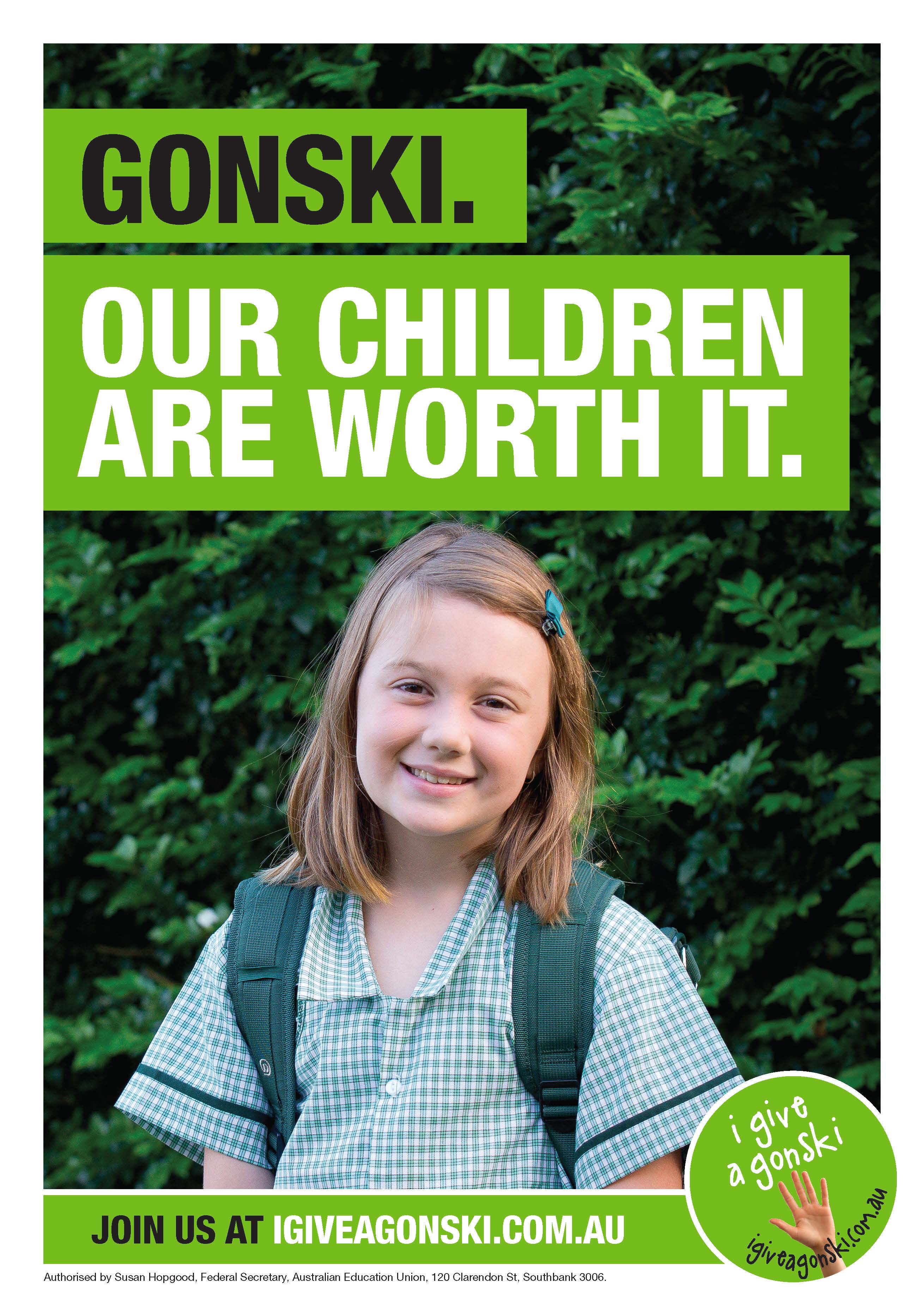 Gonski our children are worth it poster