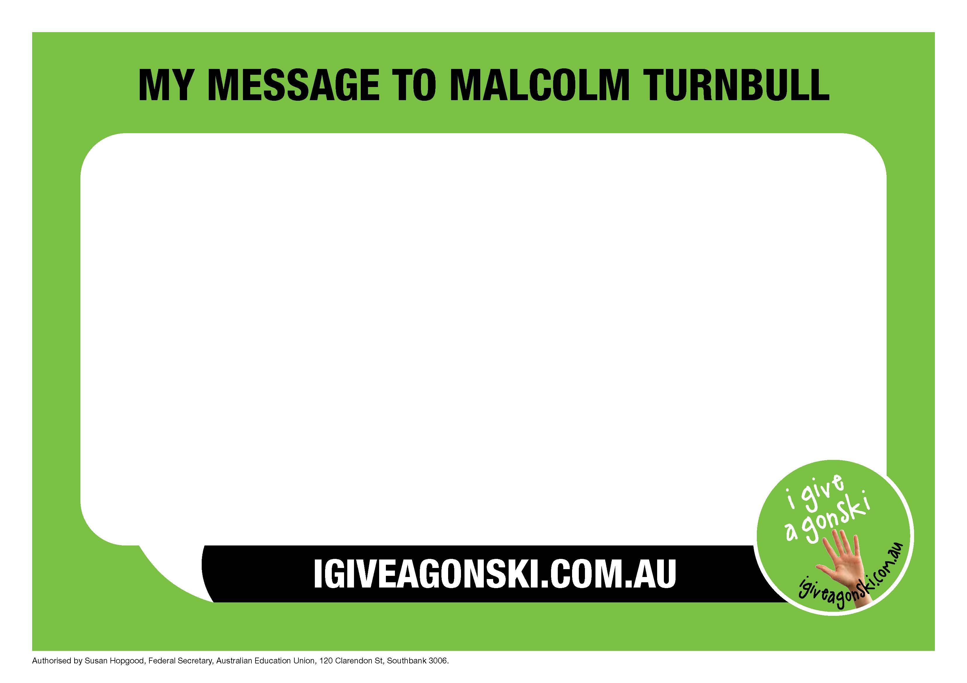 Message to Malcolm Turnbull Placard