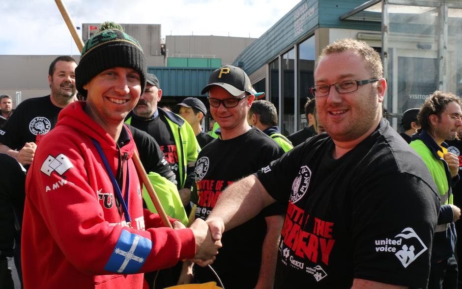 Beer making stops as workers unite