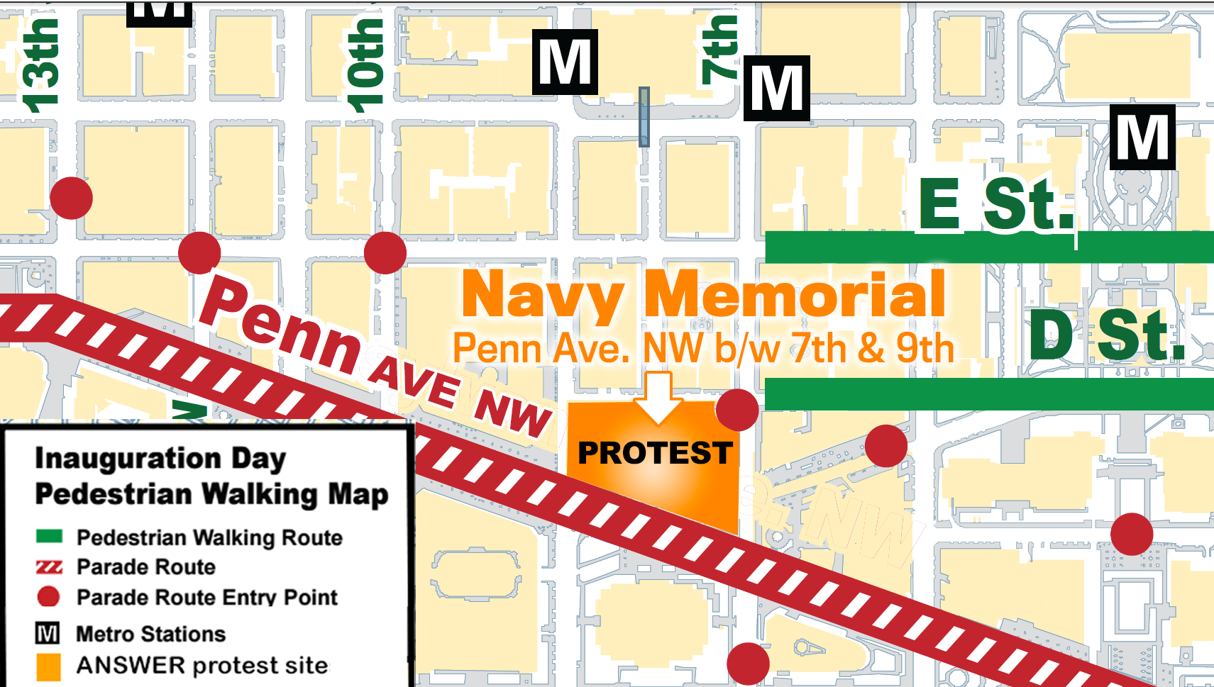 Logistical Information for Jan 20 protest maps and prohibited
