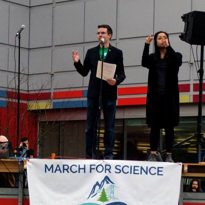 Ian Bushfield speaks at March for Science Vancouver