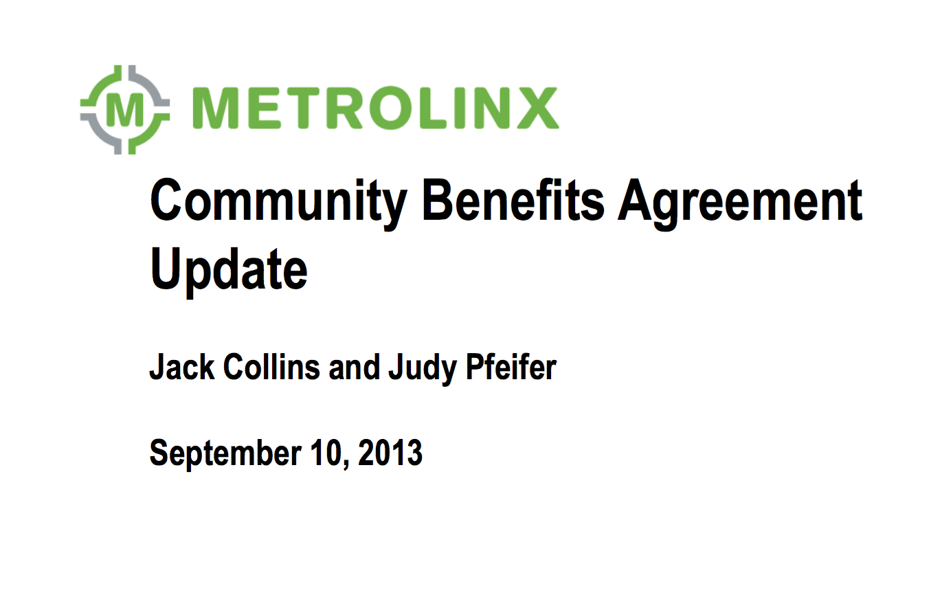 Metrolinx Board Community Benefits Agreement Toronto Community