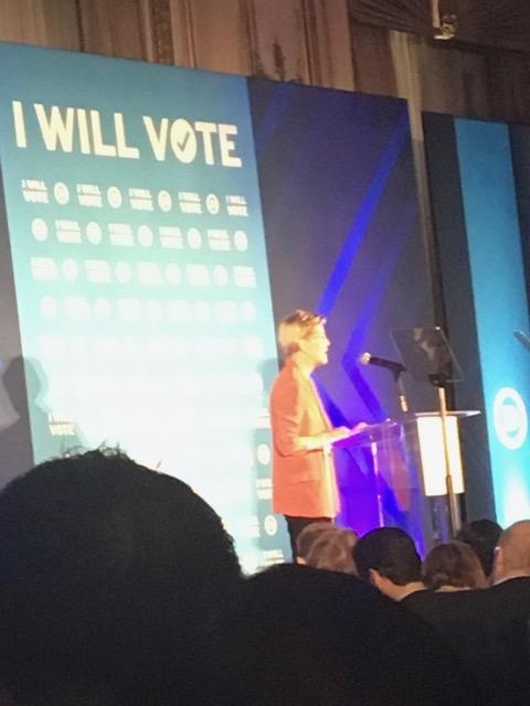 Senator Elizabeth Warren (MA) speaking at the fabulous Gala