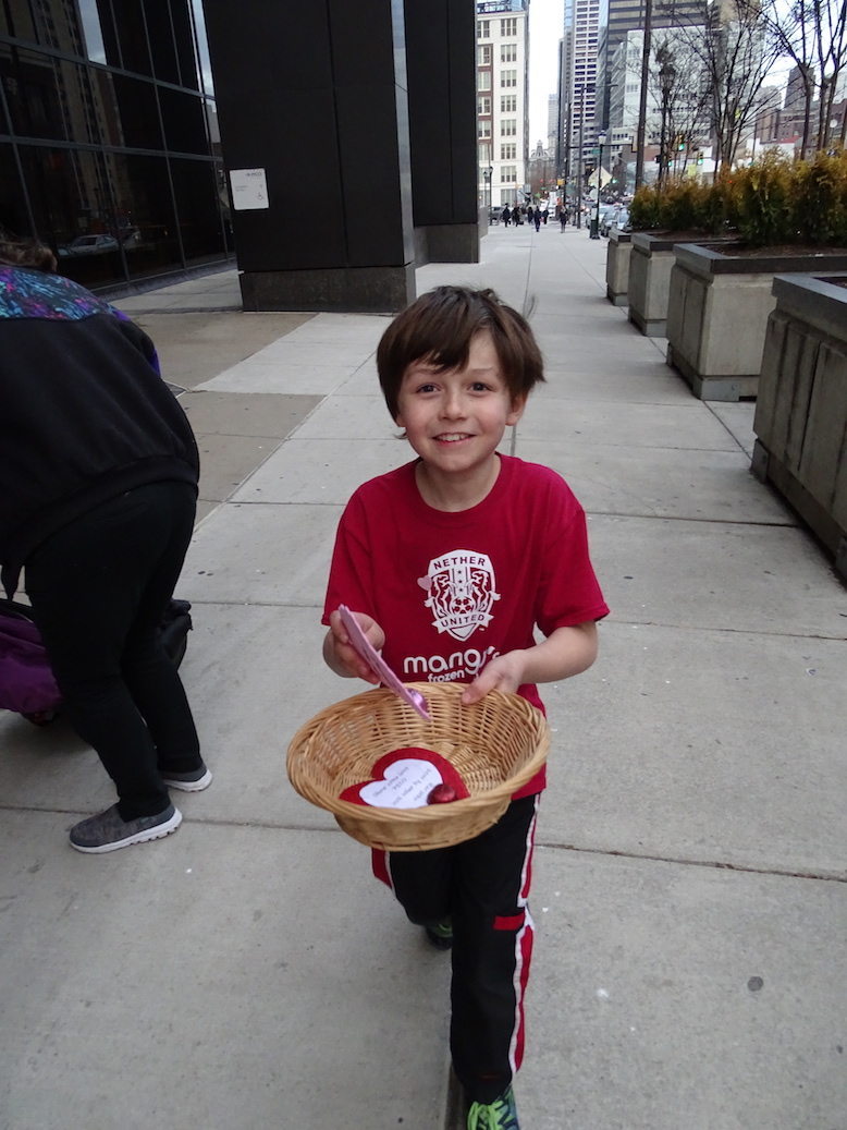 Handing out Valentines for solar at PECO