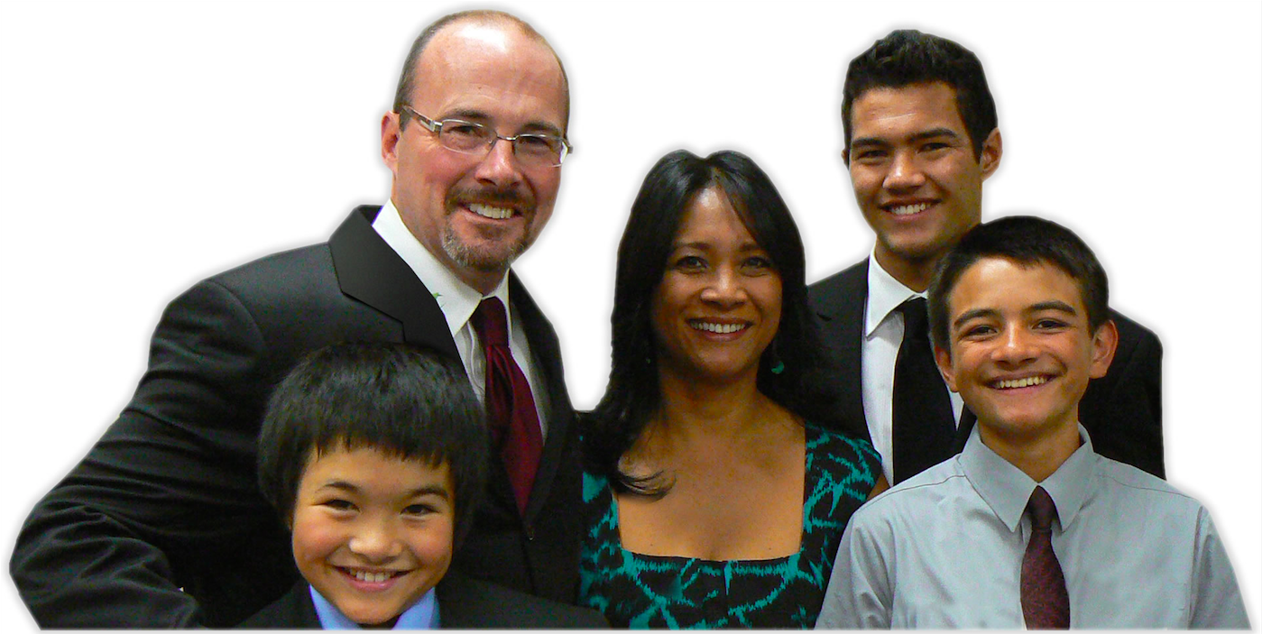 Tim, his wife Rowena, and three of their five boys.