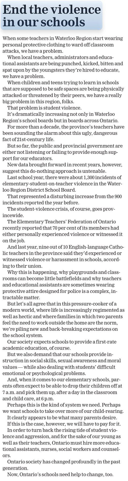 ETFO Waterloo in the News - Violence in Schools - ETFO Waterloo Region