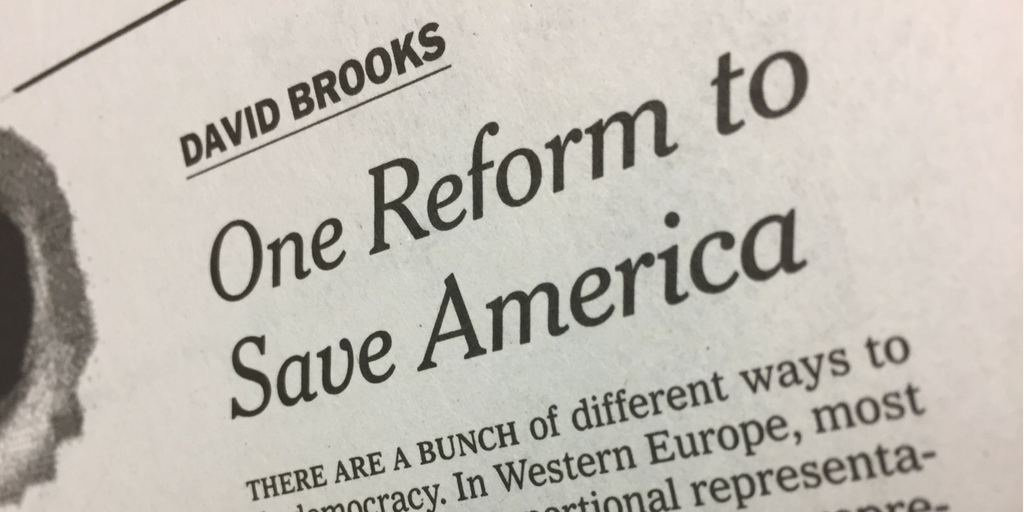 New York Times columnist David Brooks endorses ranked choice voting