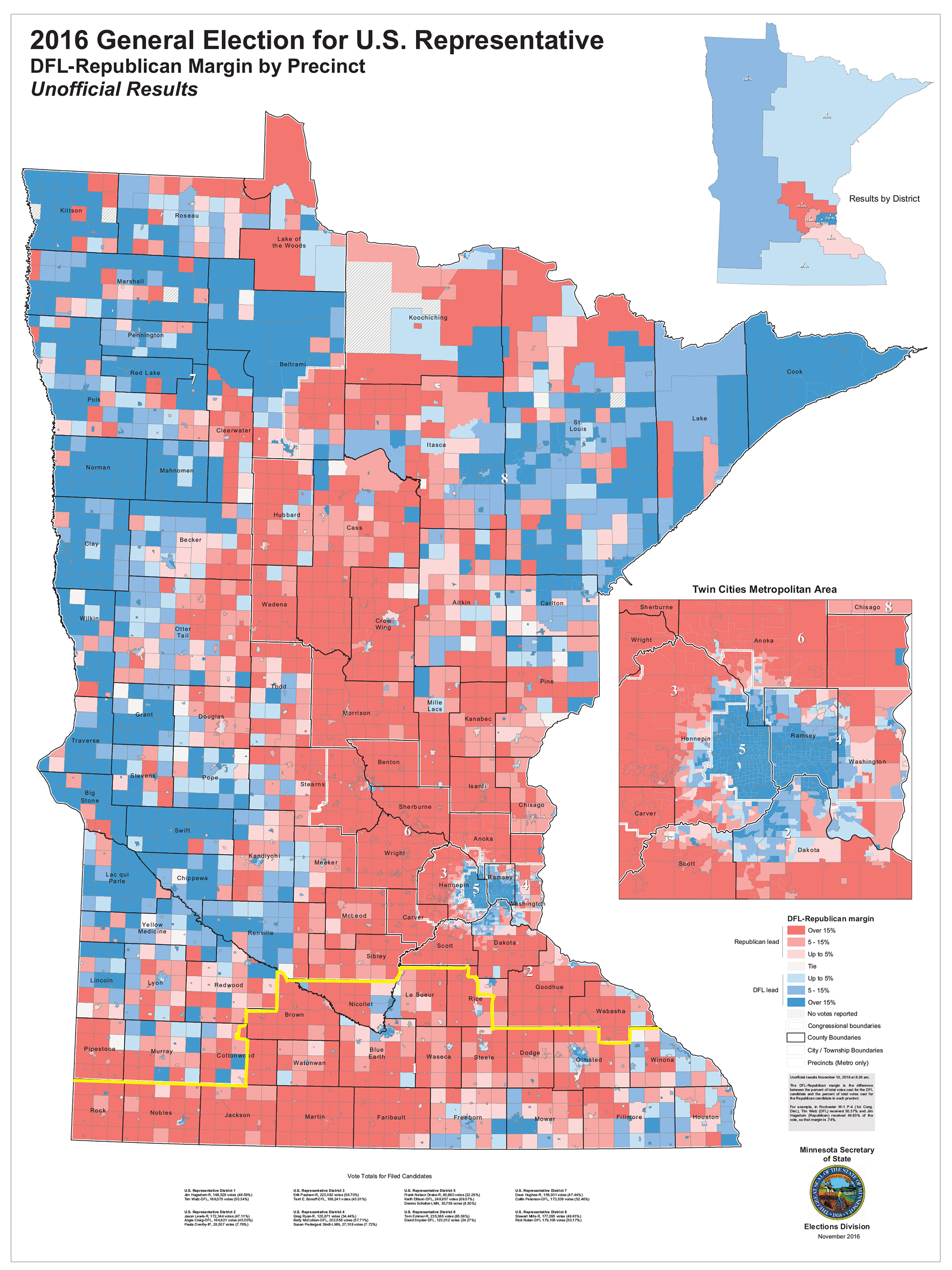 Precinct Carried by Congressional Candidates