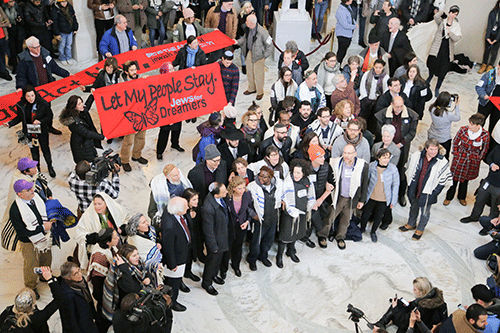 #LetMyPeopleStay action in the Capitol complex