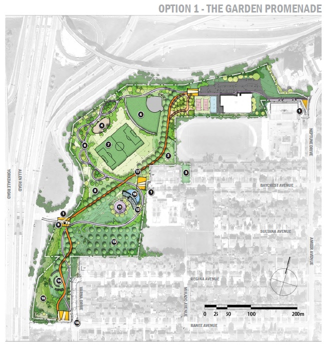 Baycrest Park - Option 1: The Garden Promenade