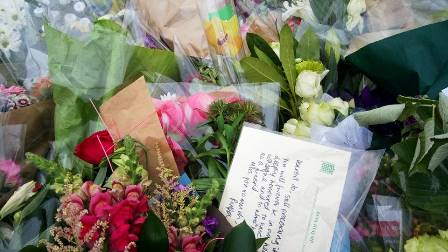 Dr Rupa Huq MP for Ealing Central and Acton leaves flowers in memory of Jo Cox MP