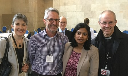 Rupa Huq MP with Justin Welby Archbishop of Canterbury, his wife Caroline and Rev Mark Melluish of St Pauls, Ealing