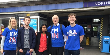 Dr Rupa Huq MP for Ealing Central and Acton outside Northfields underground station with Stronger IN campaigners supporting the UK remaining in the EU
