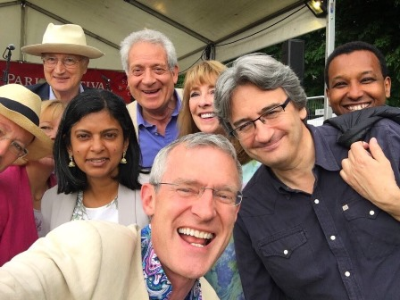 Dr Rupa Huq MP with Jeremy Vine, Raggeh Omar, Fergal Keene, Gavin Campbell and Sir George Young
