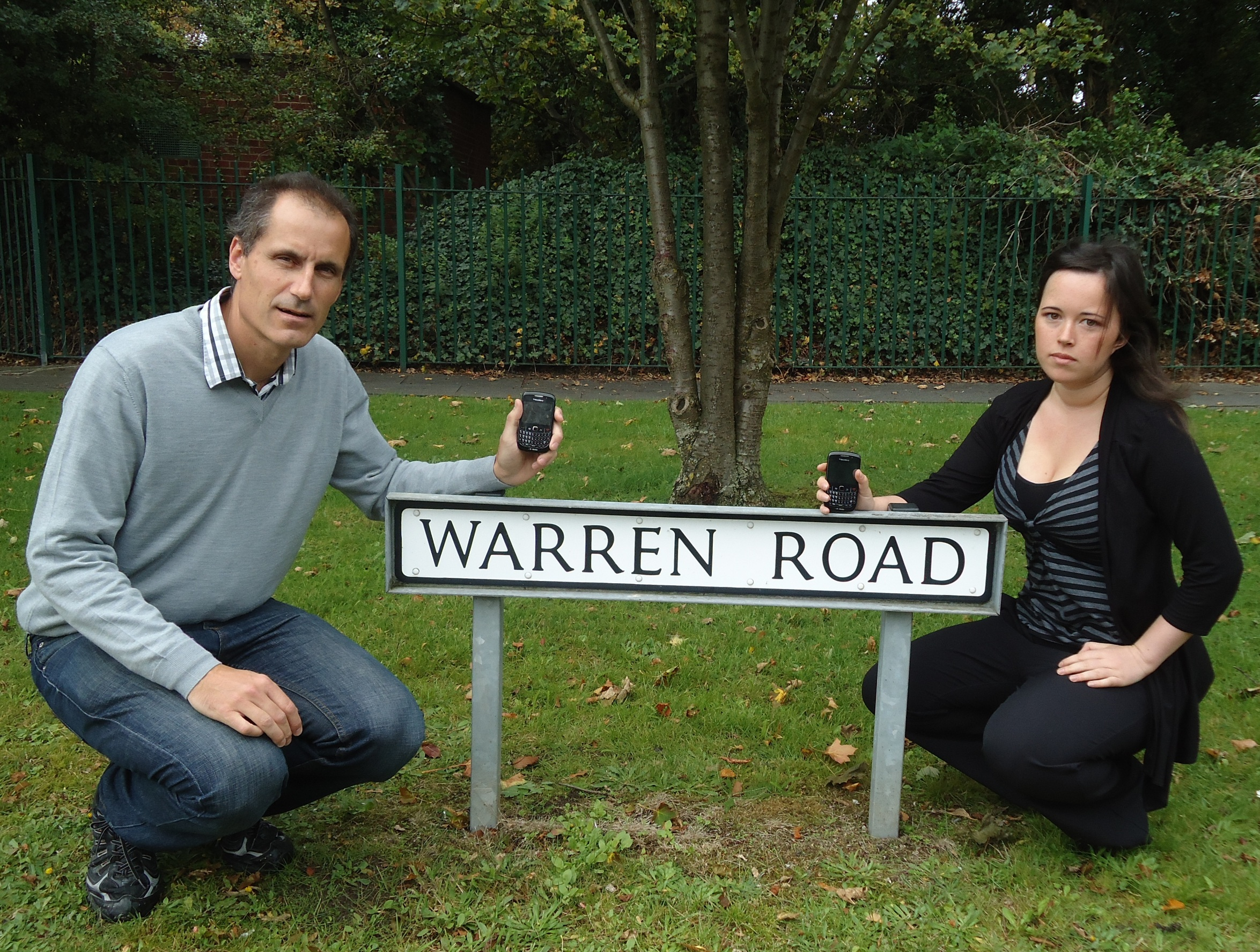 Sefton Central Labour MP Bill Esterson and Blundellsands Labour Action Team leader Veronica Bennett on Warren Road where Vodafone planned to install a phone mast.