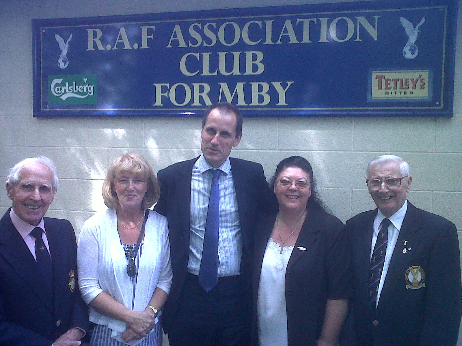Formby Rafa club secretary Fred Johns, chairman Eric Porter and bookings officer Sandra Granby with MP Bill Esterson and Cllr Catie Page.