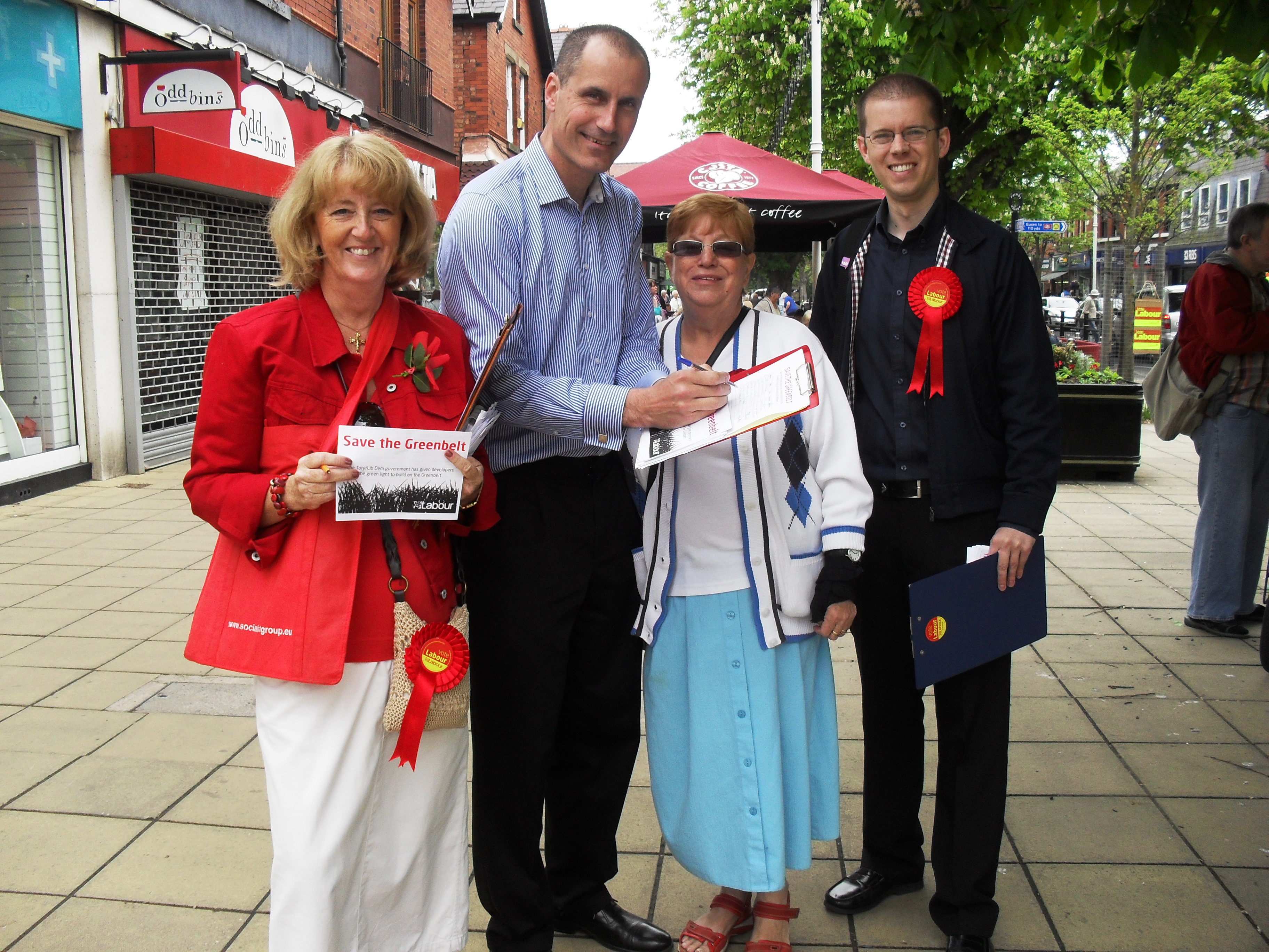 Sefton Central Labour MP Bill Esterson with Labour candidates Catie Page, Diane Roberts and Ben Bentley collecting names for the greenbelt petition in Formby Village.