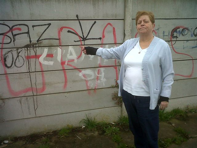 Labour Manor Ward candidate Diane Roberts points out some of the graffiti in Thornton.