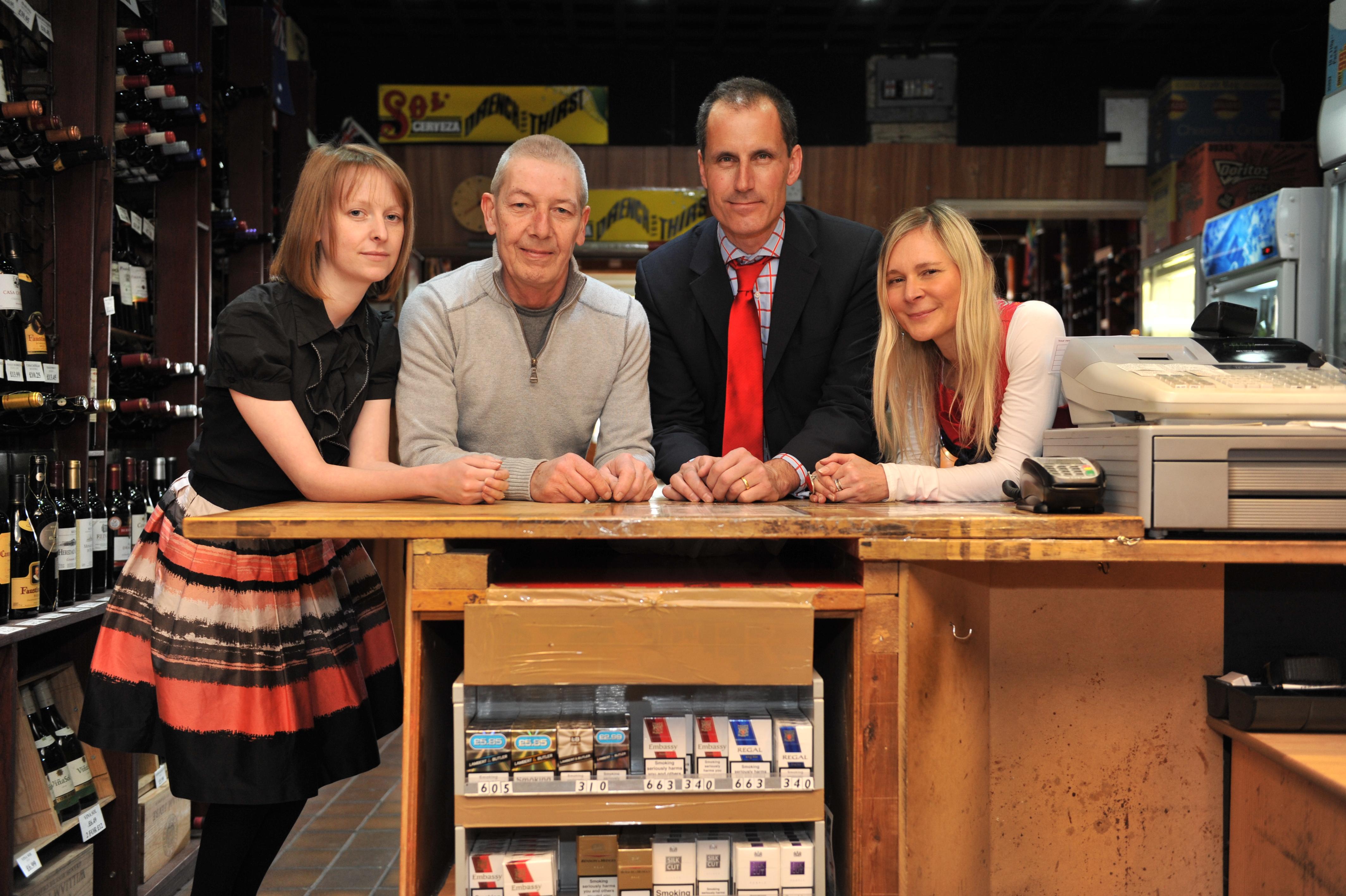 Sefton Central Labour MP Bill Esterson and T.C. Wine Shop manager Len Hartley.