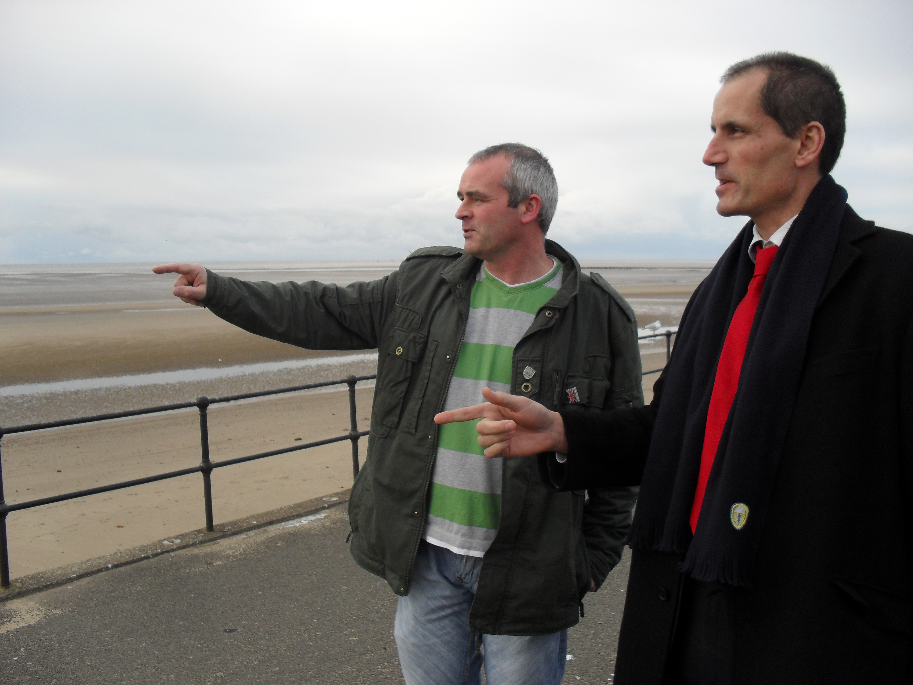 Bill Esterson with PCS coastguard union rep Paul Kirby at the Crosby Coastguard Station