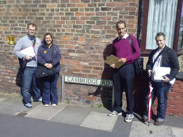 Sefton Central MP Bill Esterson with Blundellsands Labour Action Team and leader Ben Winstanley