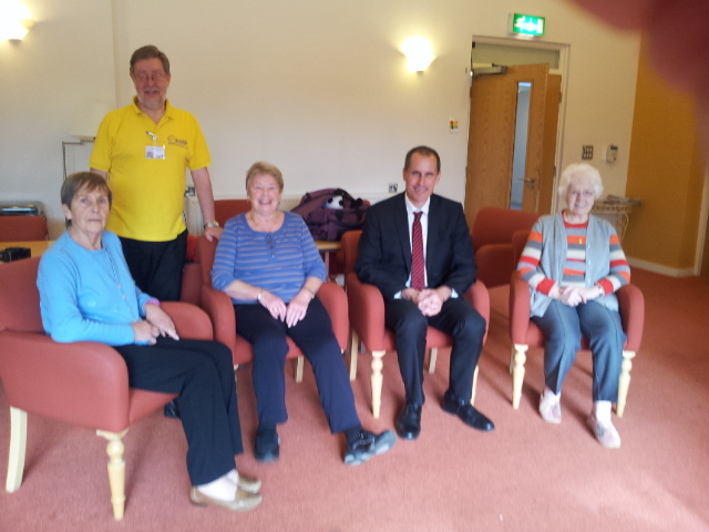 Sefton Central Labour MP Bill Esterson with Sefton OPERA's Roy Swainson and Kenyons Lodge residents after chair exercise session.