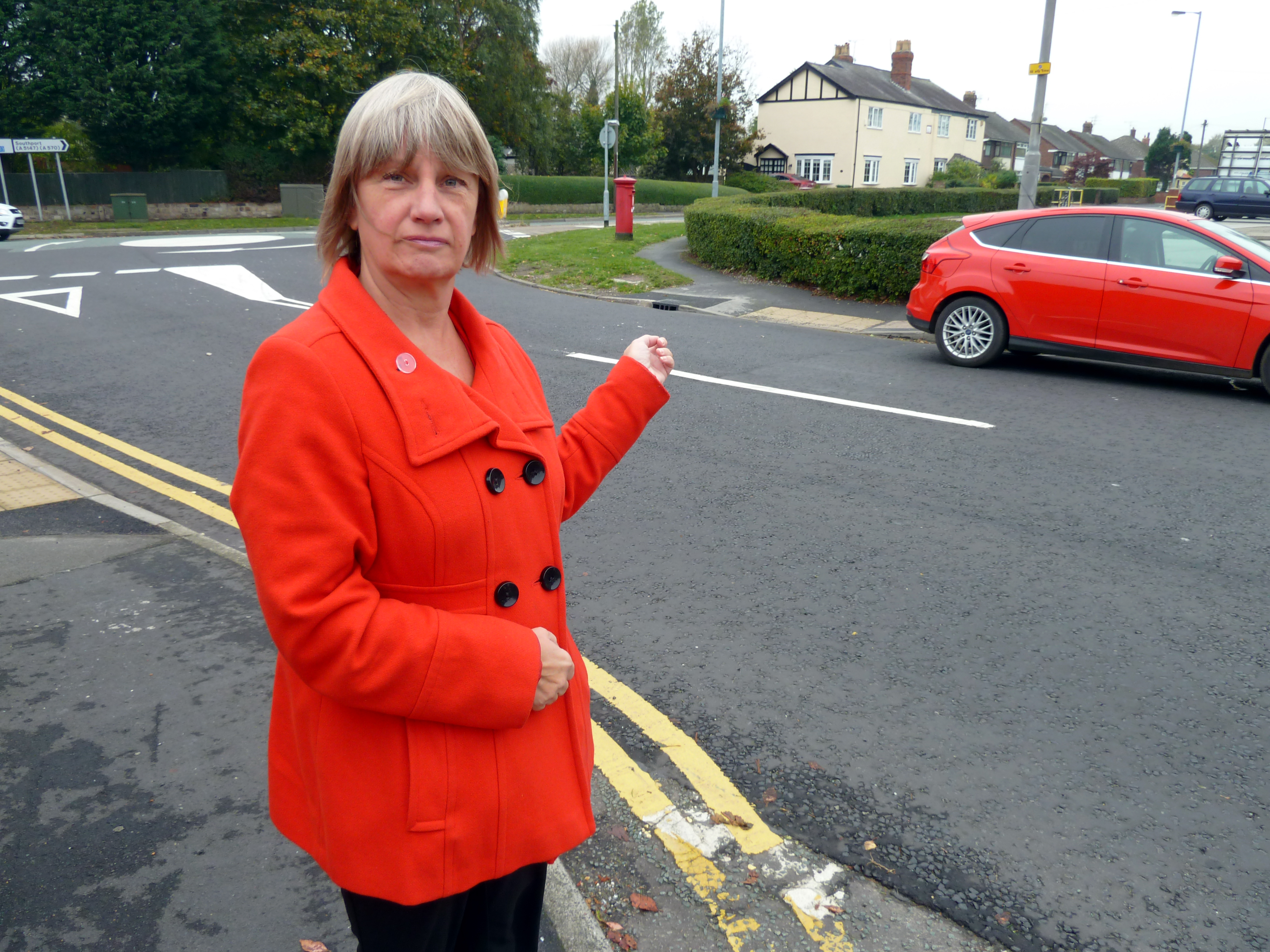 Lydiate Labour Action Team's Cllr June Burns on Moss Lane.
