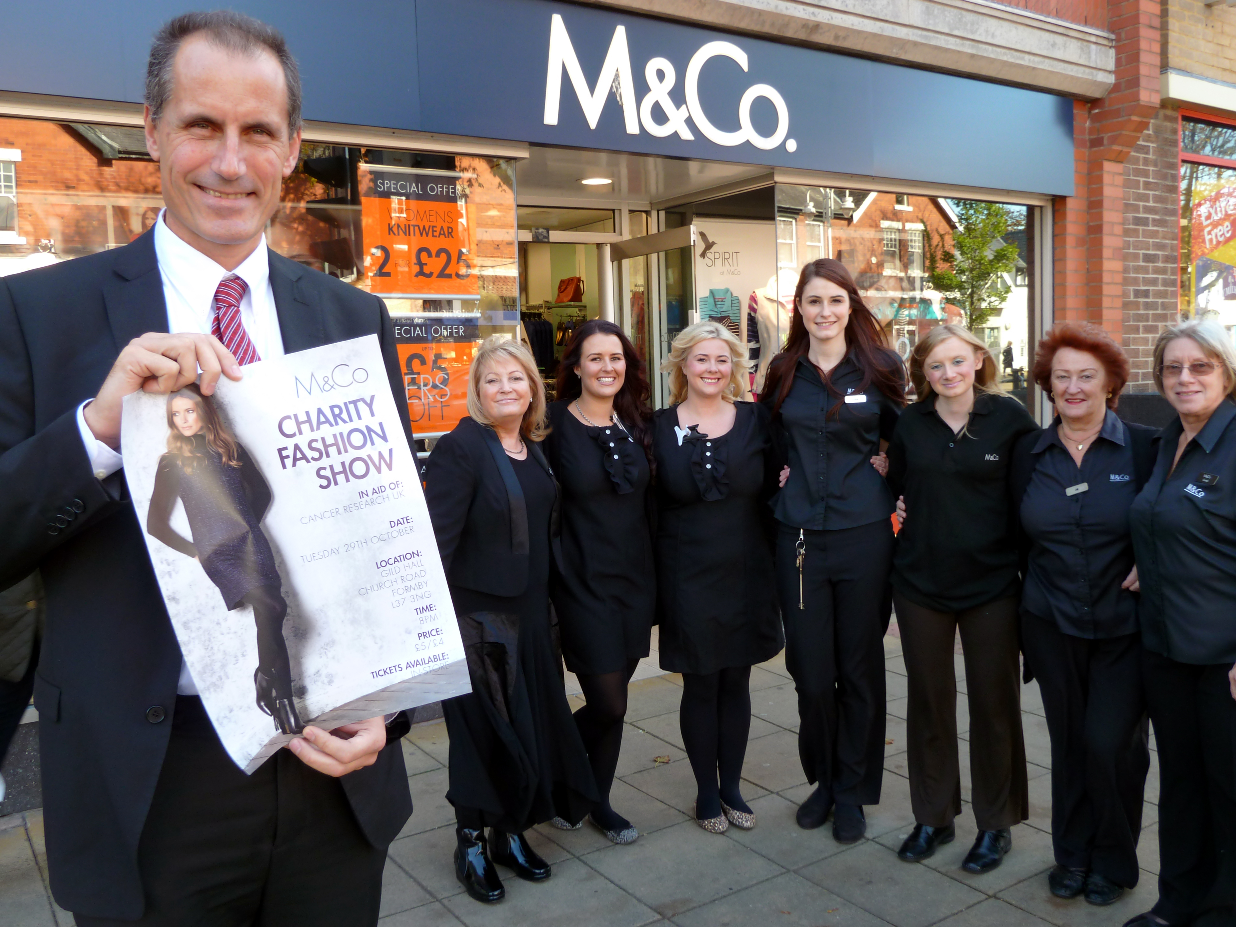 Sefton Central Labour MP Bill Esterson with fashion show organiser Sheila Leathley, Unique Salon's Amy MacDonald and Zoe Martin, M&Co store manager Emma Cook, Gill Moore, Carol Beddows and Chrisie Lee.