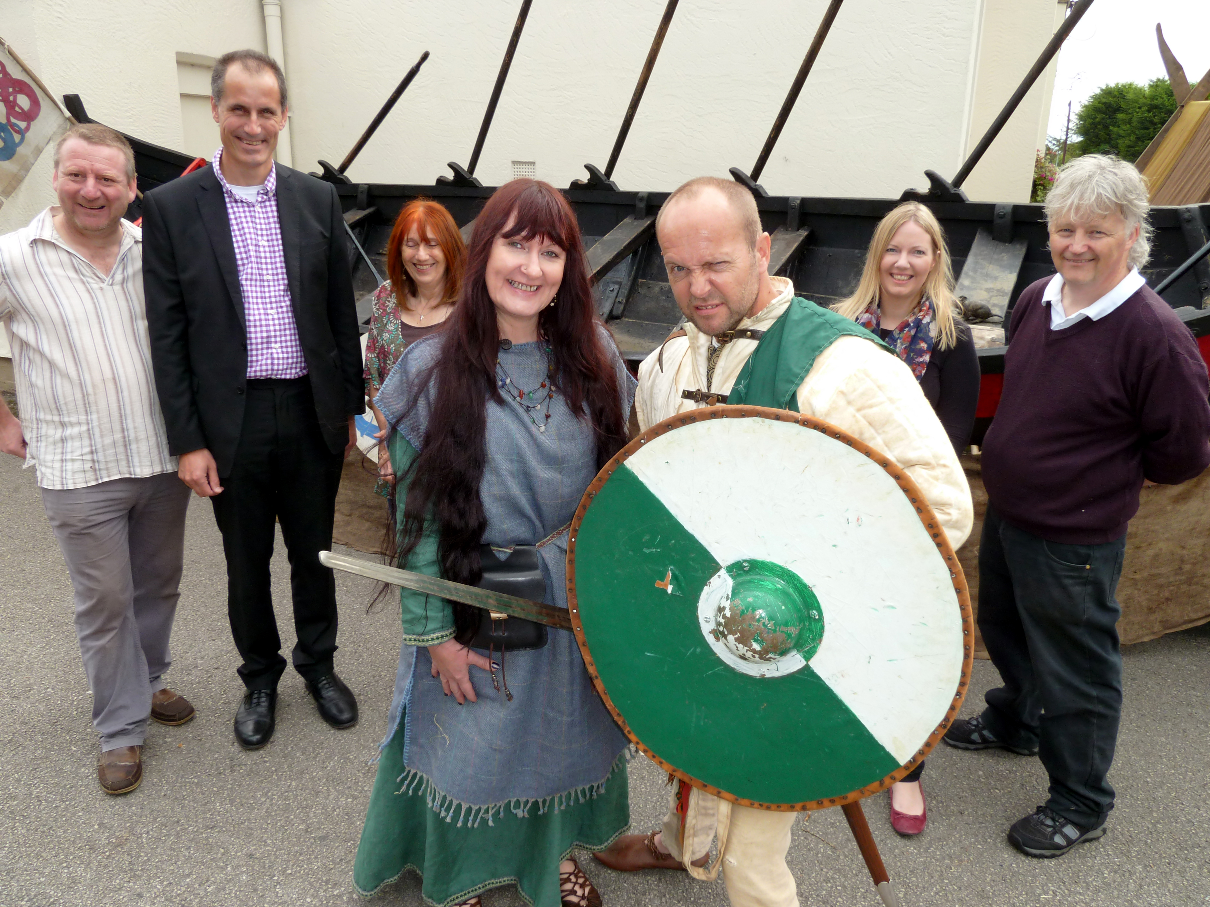 Formby Viking Medieval Market organisers with Viking maiden Pauline Clarke and 12th Century Welsh Mercenary Rick Manning.