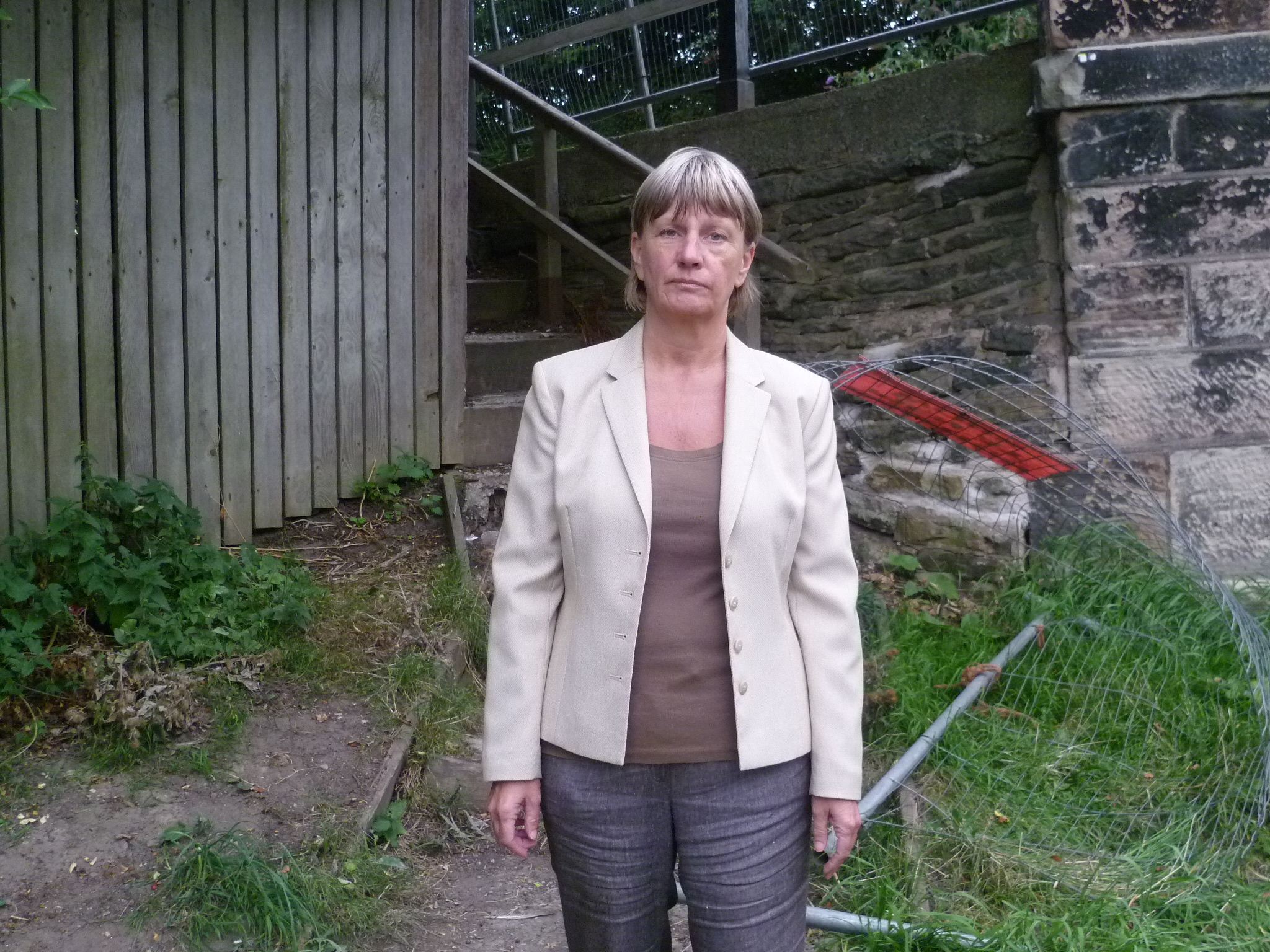 Lydiate Labour Action Team's June Burns is raising concerns about the steps from the canal to Pilling Lane in Lydiate.