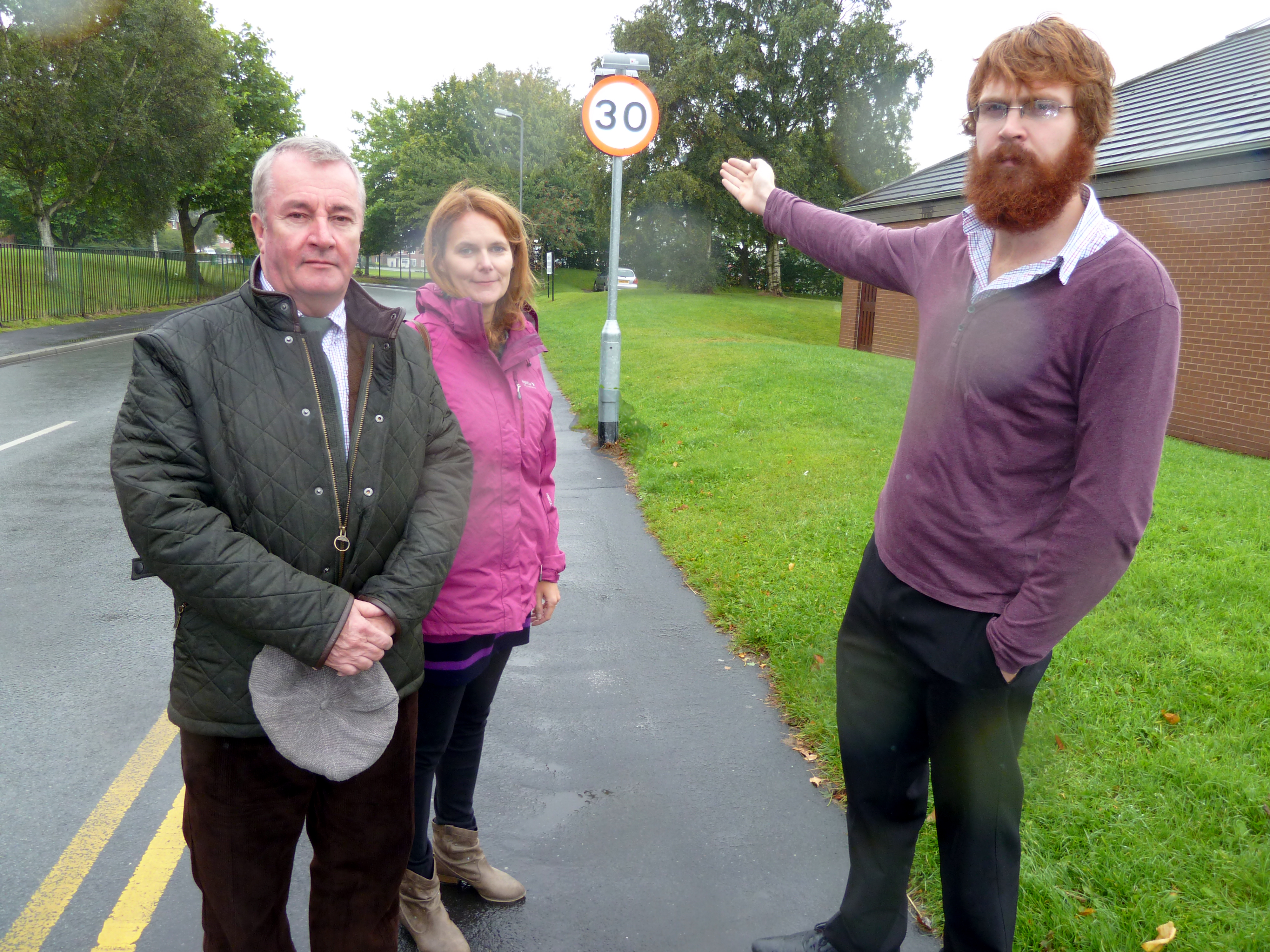 Sudell Ward Labour Councillors Lynn Gatherer and Patrick McKinley and Maghull Labour Action Team's Rob Owens on Old Hall Road which will go from 30mph to 20mph.