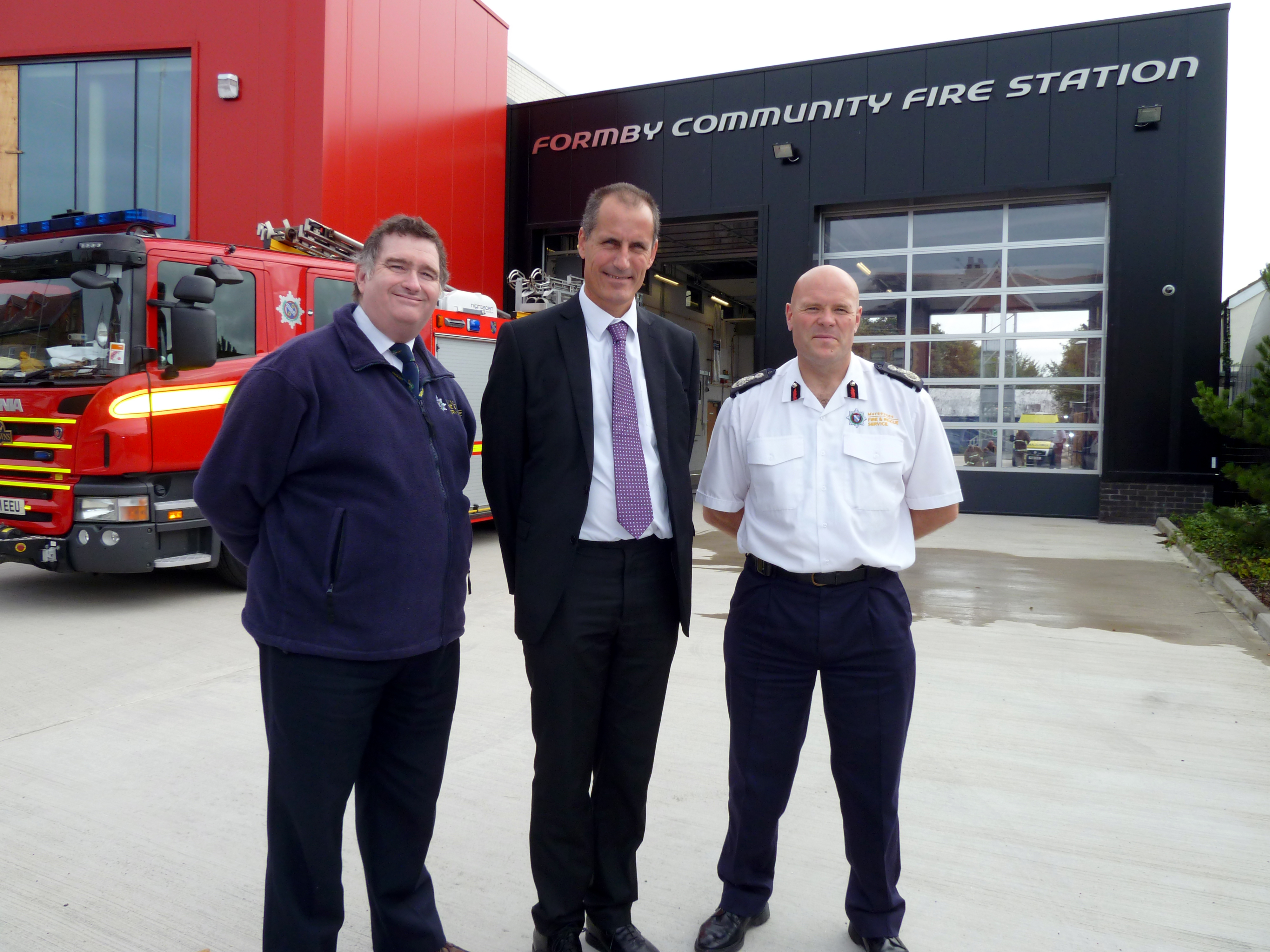 Sefton Central Labour MP Bill Esterson with Merseyside Fire Authority Vice Chairman Les Byrom and Chief Fire Officer Dan Stephenson.
