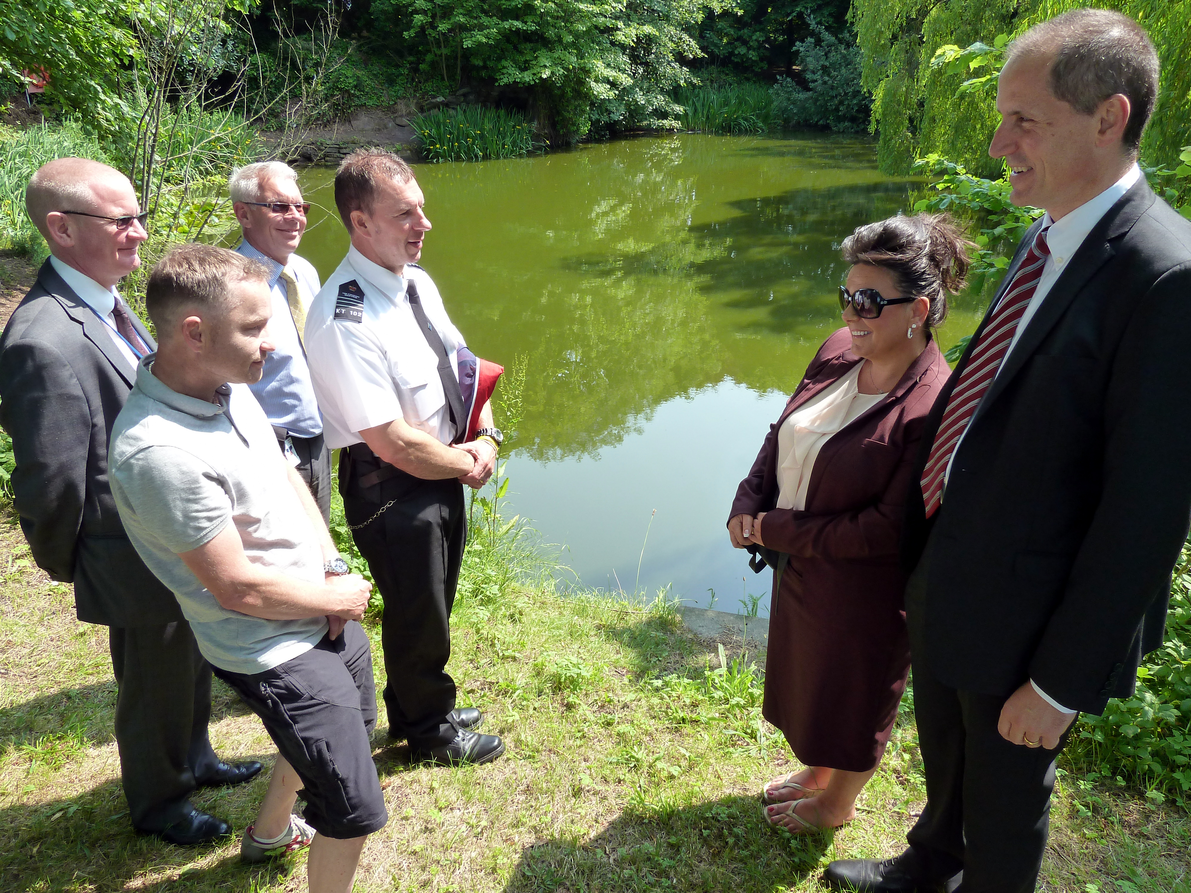 Sefton Central Labour MP Bill Esterson with Ashworth Hospital head of facilities Rhonda Latham, HMP Kennet's Chris Barker and Andrew Brocklehurst, Ashworth Hospital's site manager Chris Marshall and staff nurse and Ashworth Cricket Club chairman Richie Hooton.