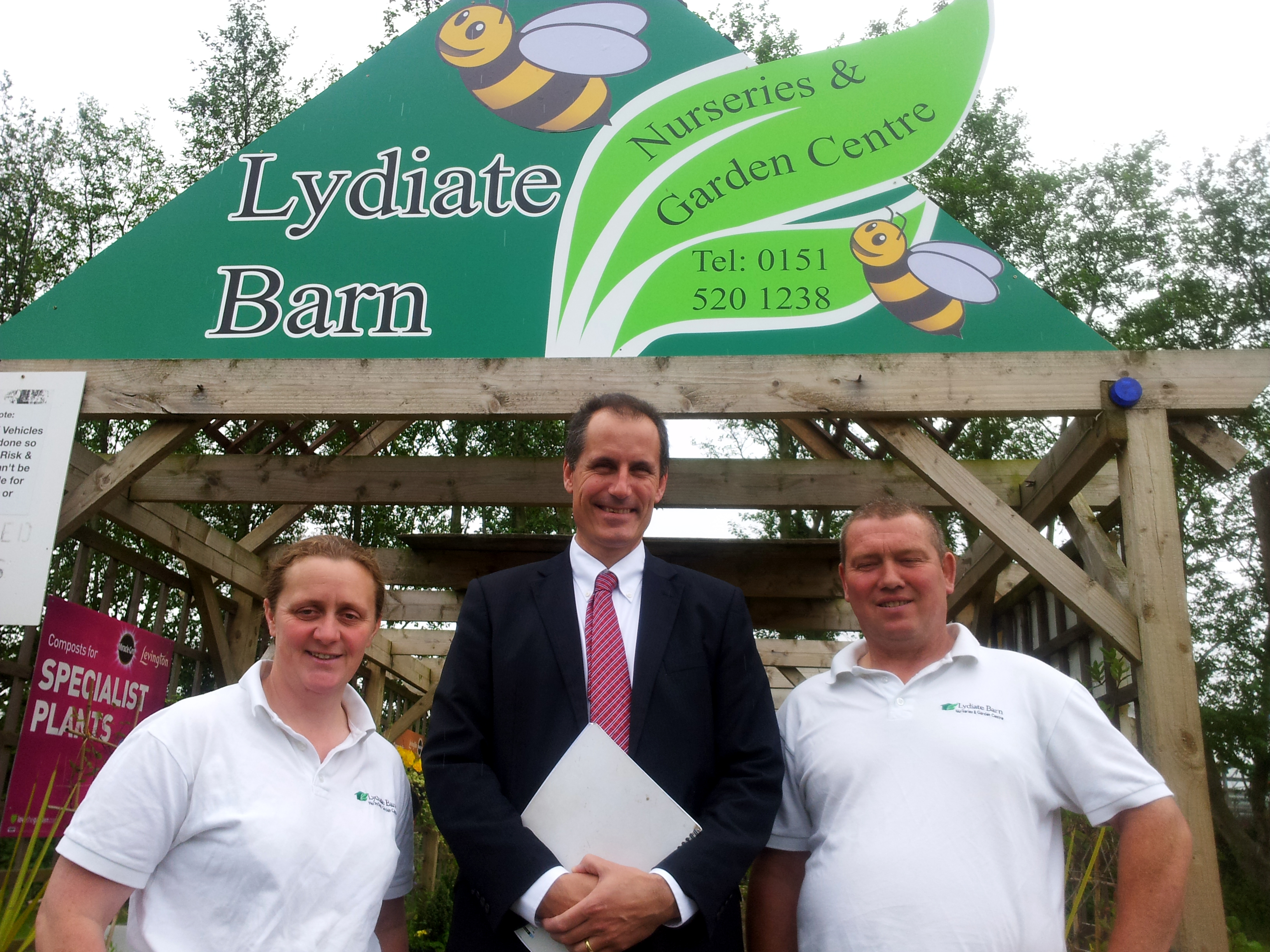 Sefton Central Labour MP Bill Esterson with Elaine and Phil Curran at Lydiate Barns Nursery and Garden Centre.