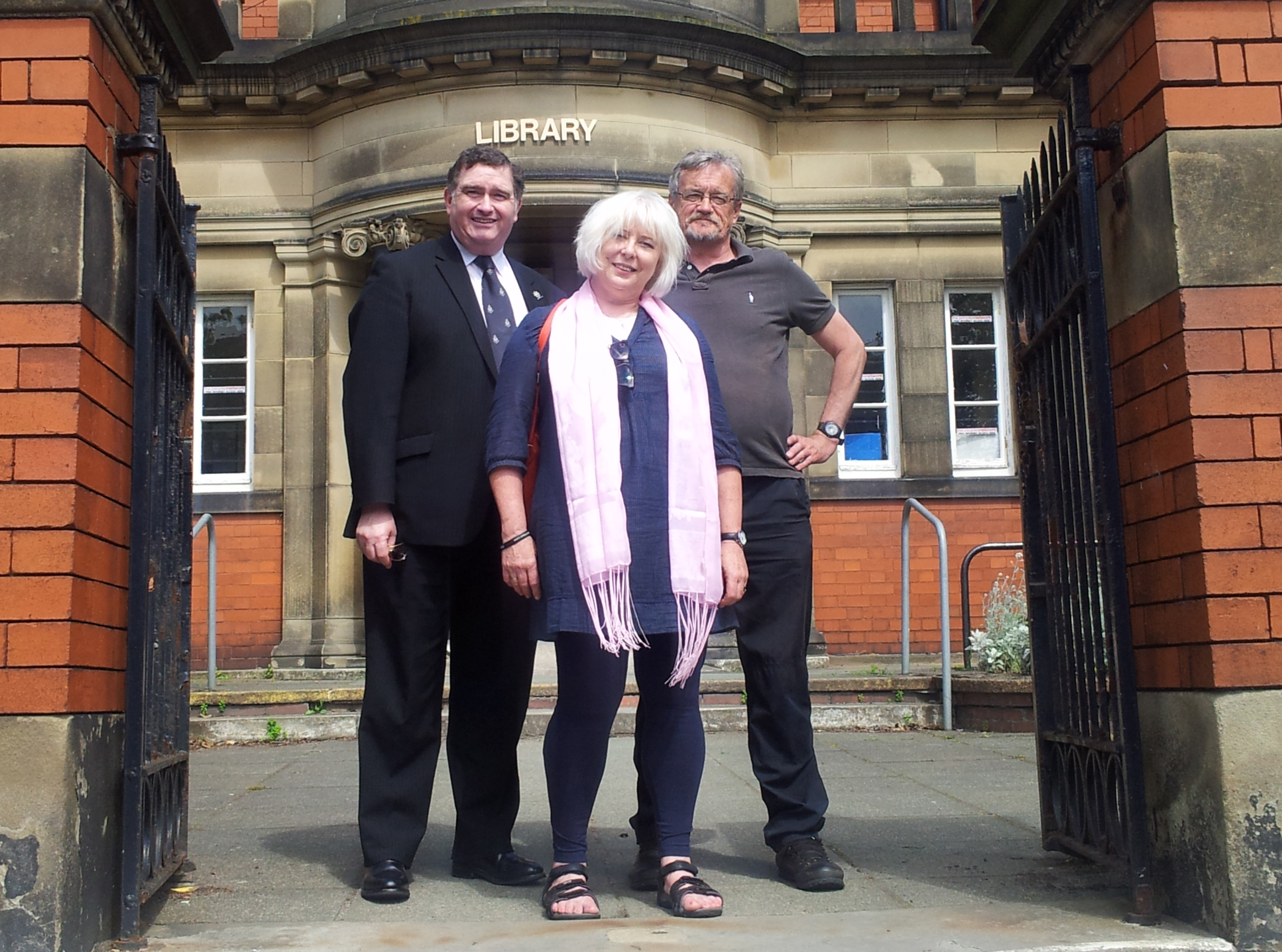 Crosby Labour Councillors Les Byrom and Mick Roche with local activist Jan Grace.