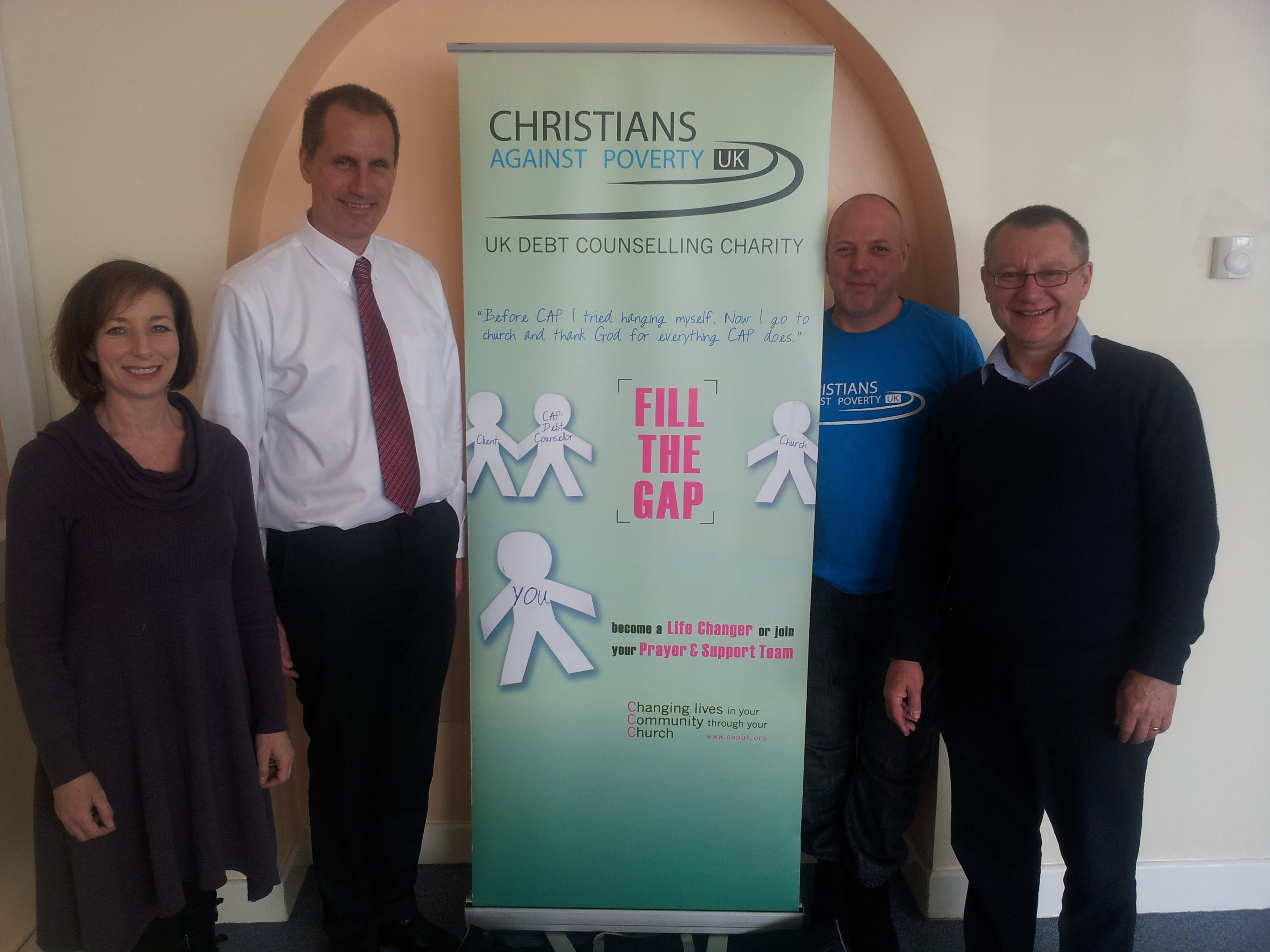 Sefton Central Labour MP Bill Esterson with Christians Against Poverty members Rev Malcolm Dyer, Debbie Davies and Christians Against Poverty Southport Centre manager Gary Foulds at Formby Christian Fellowship Church.
