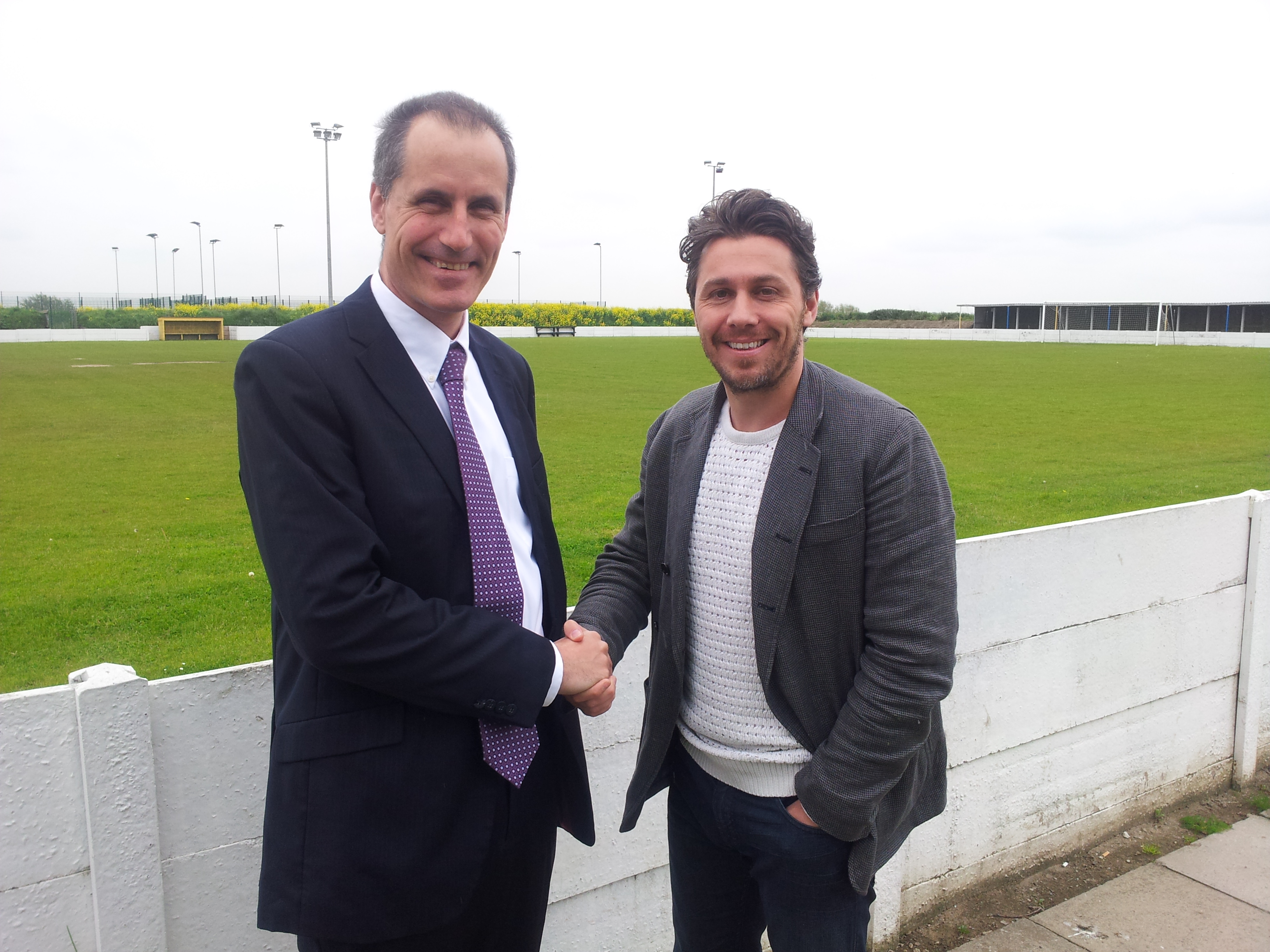 Sefton Central Labour MP Bill Esterson with owner of Formby FC's former ground Hugh Mcauley at the Altcar Road site.