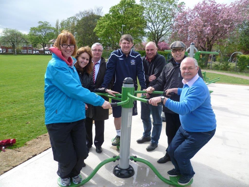 Labour Councillors from Maghull Town Council try out the new outdoor gym equipment at KGV park.