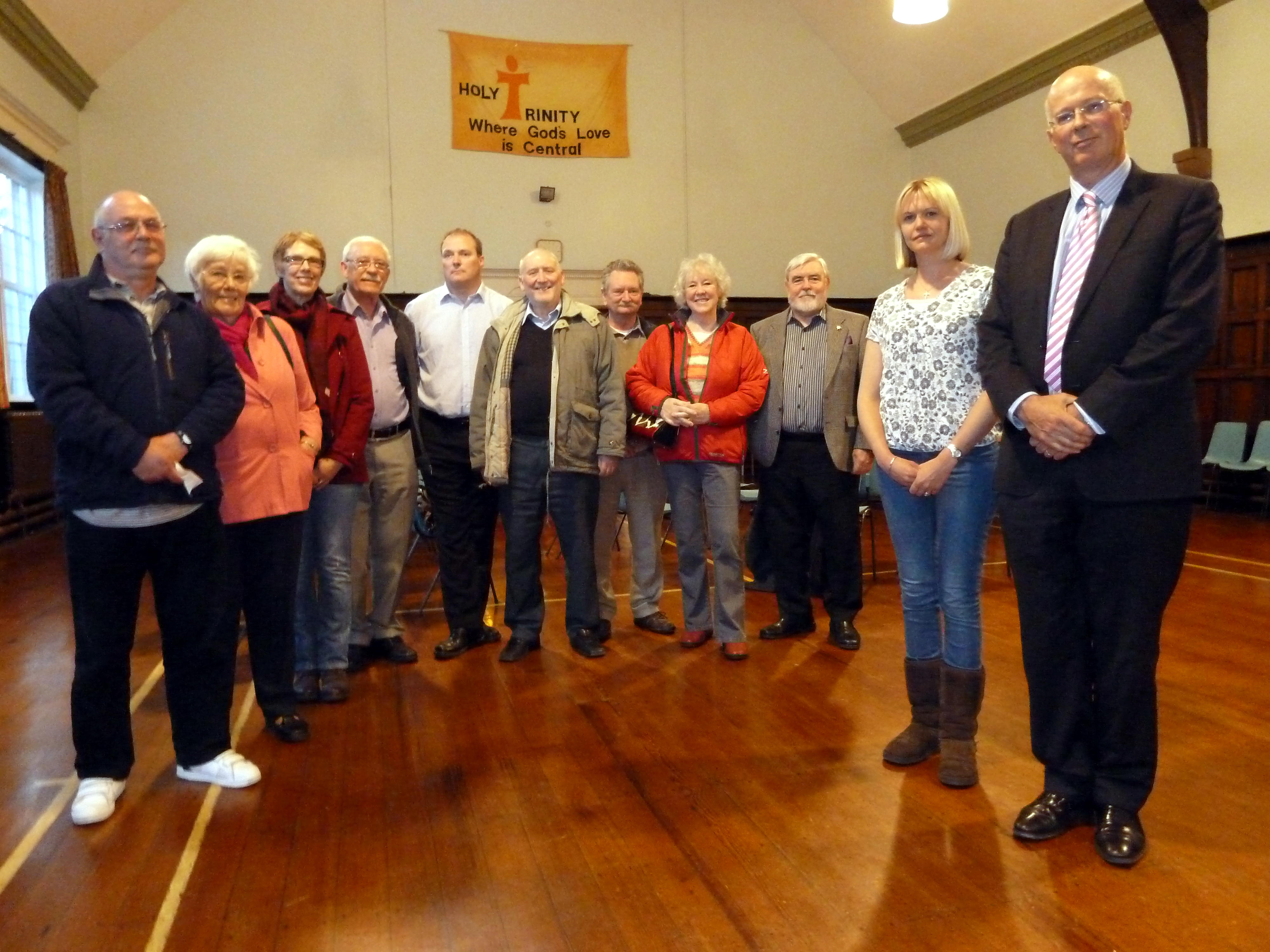 Formby Labour Councillor Nina Killen with Southport & Formby CCG chairman Dr Niall Leonard and some of the campaigners and residents who attended the 38 Degrees meeting at Holy Trinity Parish Hall in Formby on Monday.