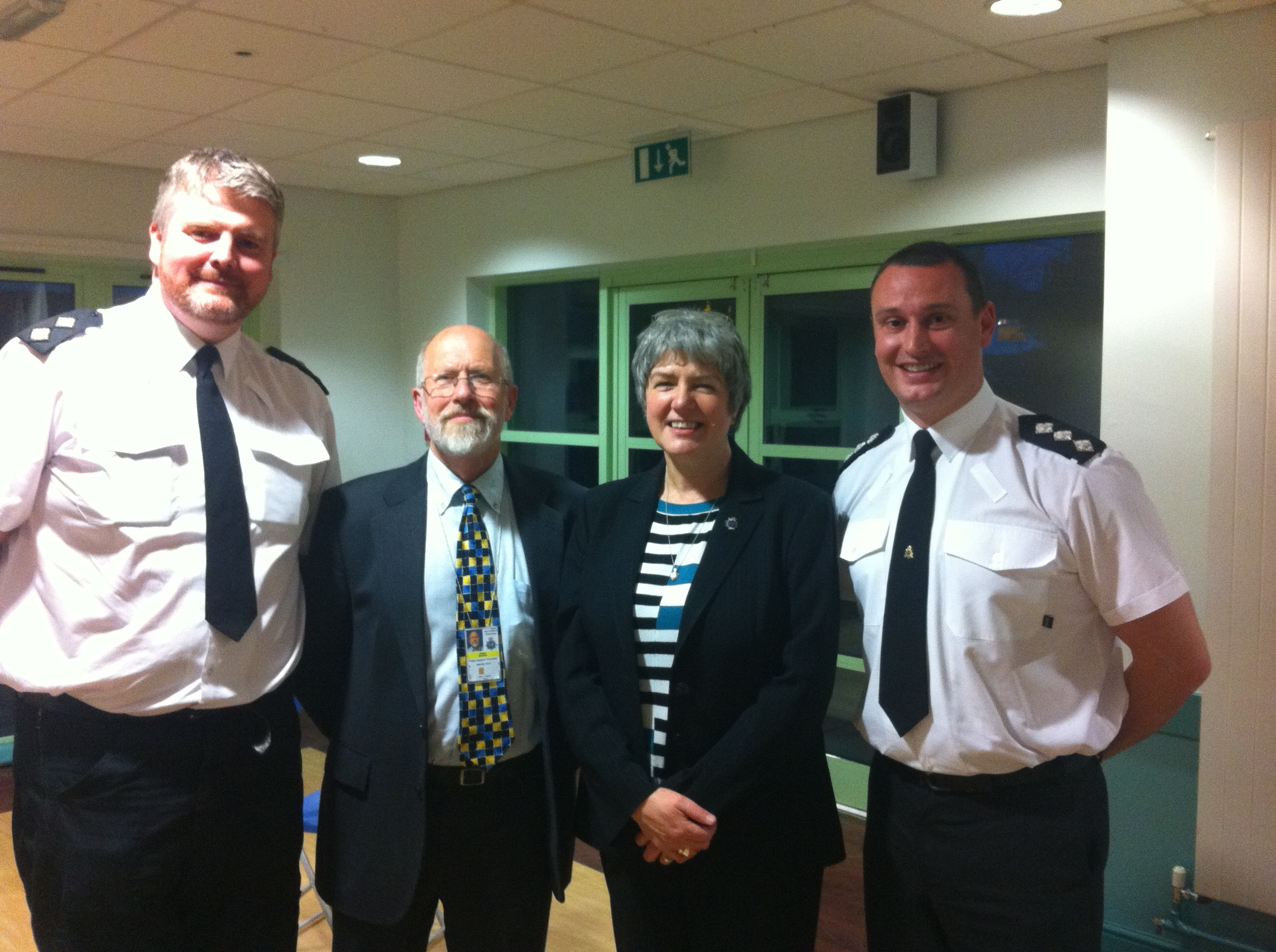 Merseyside Police and Crime Commissioner Jane Kennedy at Freshfield, Formby & Ince Blundell Homewatch Scheme's AGM at Formby High Sixth Form Centre, with Ch Insp Chris Burnham, Insp Nigel Stewart and chairman Roger Sloman.