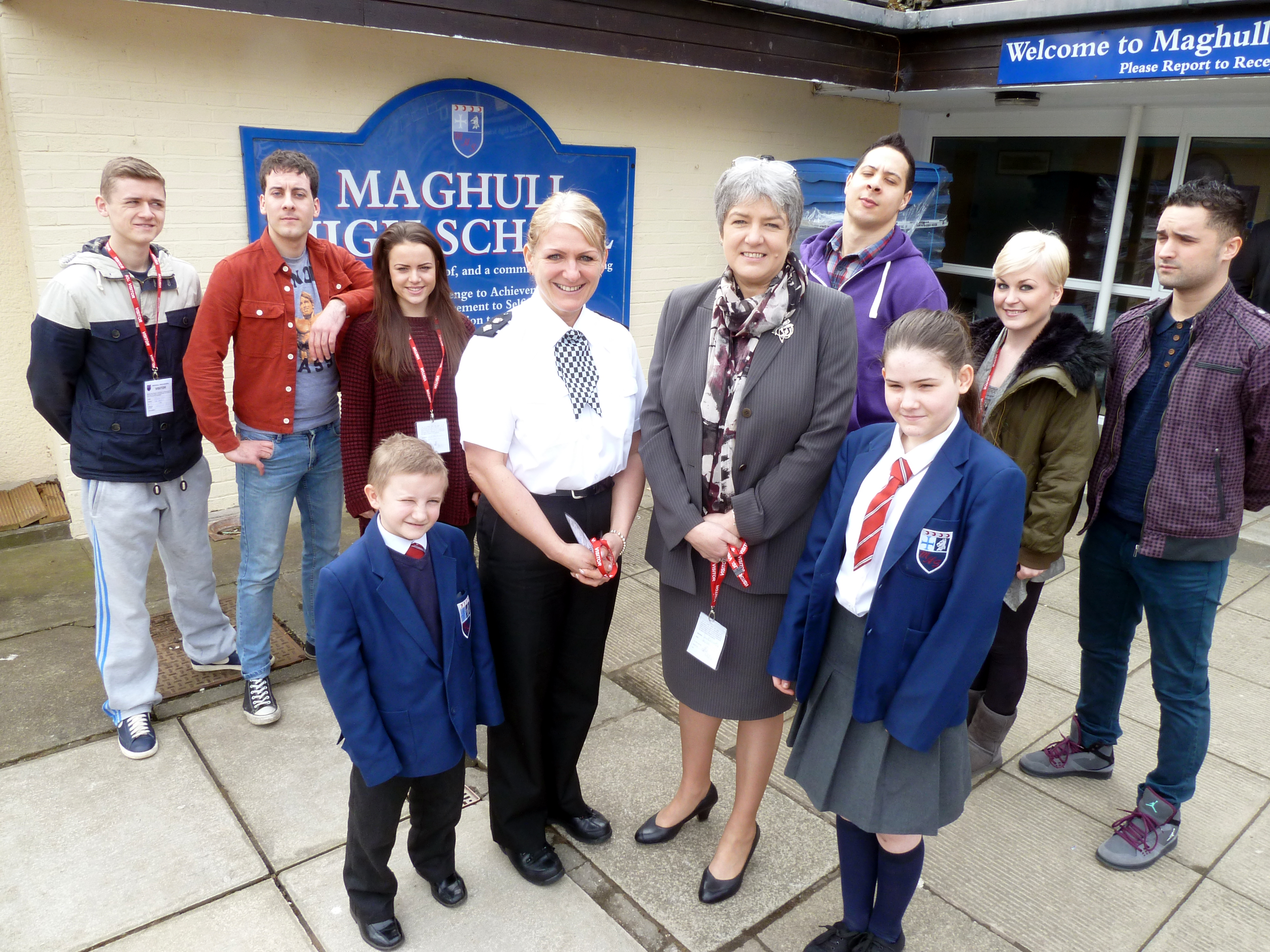 Merseyside Police and Crime Commissioner Jane Kennedy and Sefton Area Police Commander Chief Superintendent Nikki Holland with The Terriers cast members and pupils after the performance at Maghull High.