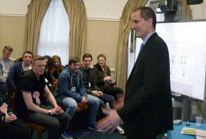 MP Bill Esterson with the Deyes High History students during their Westminster visit.