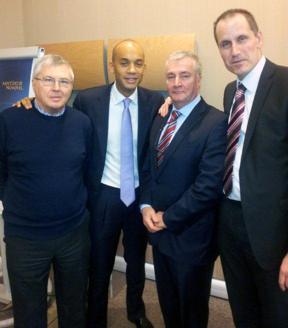 Labour Shadow Business Secretary Chuka Umunna, Phil Round, Maghull Labour Councillor Patrick McKinley and MP Bill Esterson.
