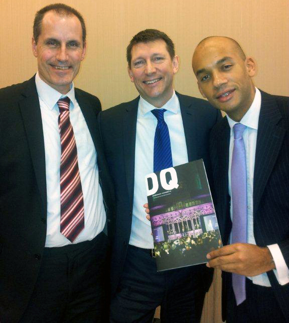 Labour Shadow Business Secretary Chuka Umunna with Sefton Central Labour MP Bill Esterson and meeting organiser Frank McKenna from Downtown Liverpool in Business.