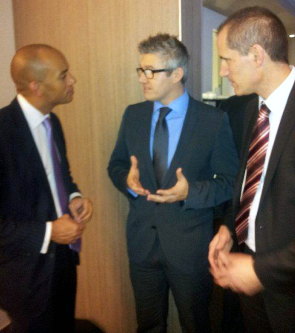 Labour Shadow Business Secretary Chuka Umunna, with Ray Pendelton and Labour MP Bill Esterson.