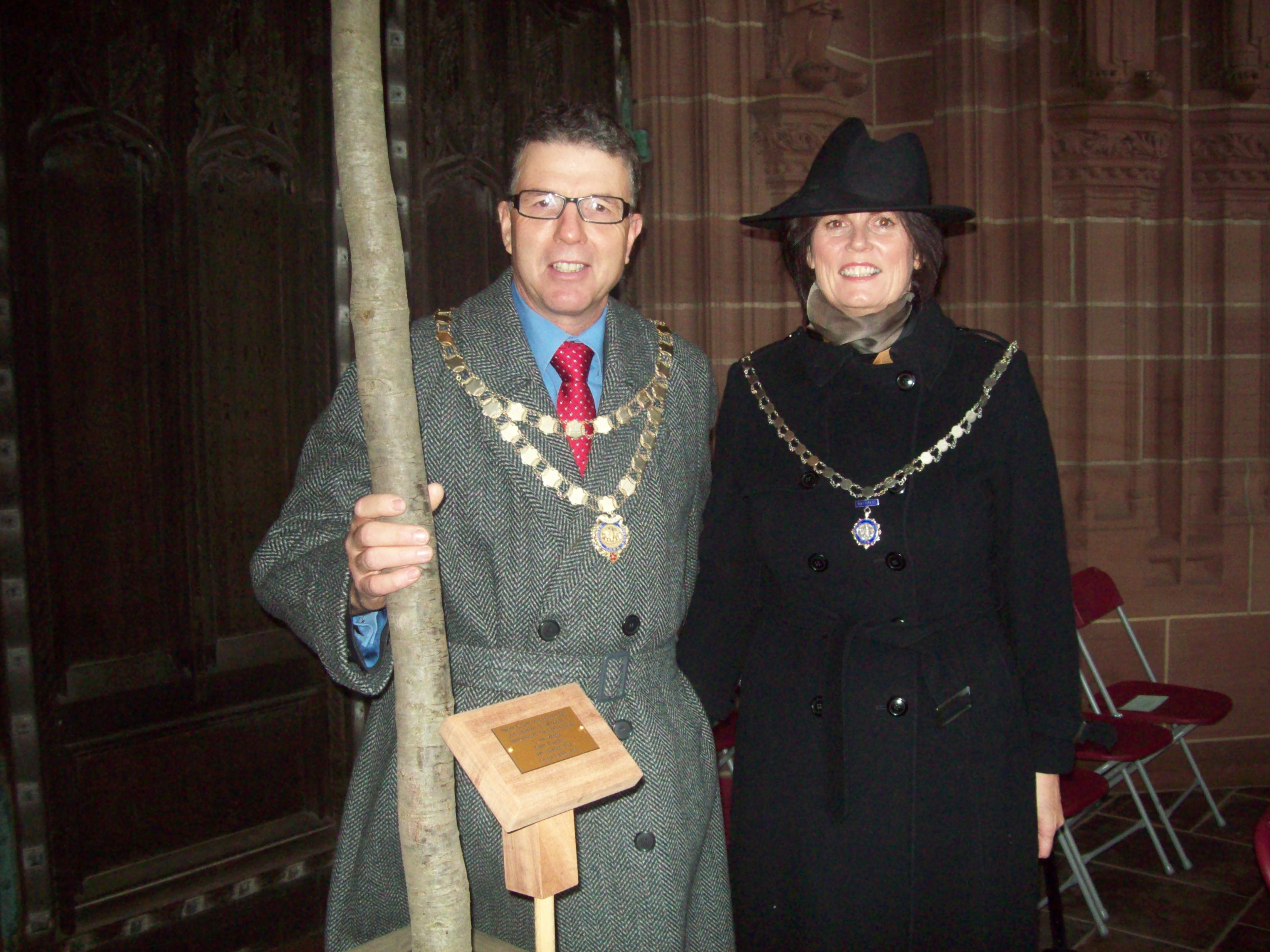 Mayor and Mayoress of Maghull, Cllrs Steve and Gwen Kermode, with the tree they planted at Liverpool Cathedral for the Jubilee Tree Planting ceremony.