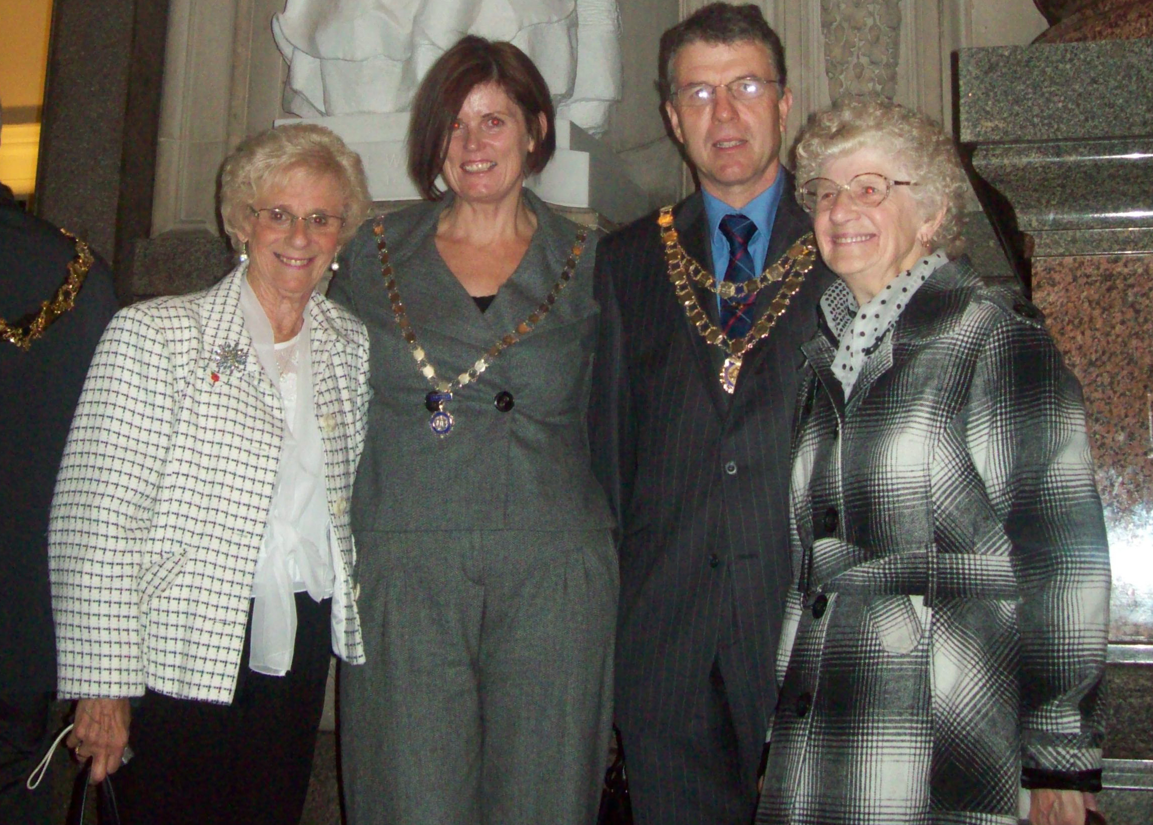 Mayor and Mayoress of Maghull Cllrs Steve and Gwen Kermode and descendents of Kitty Wilkinson Dorothy Philips and Marion Wright with the newly unveiled statue.
